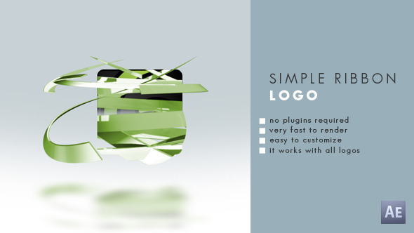 抽象丝带Logo演绎动画AE模板 Videohive Simple Ribbon Logo 10540305